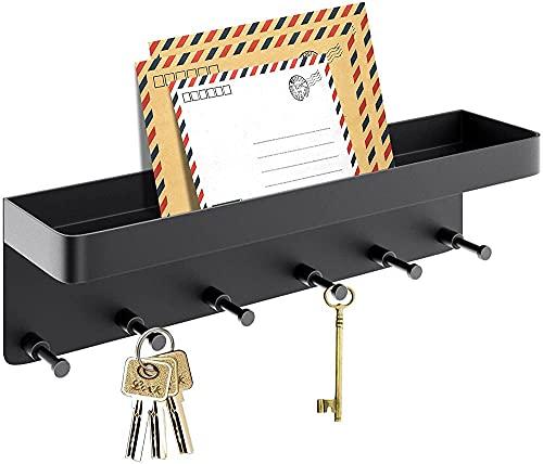Titular de la llave para la pared Decorativo con 6 ganchos Personalizador de llave con llave de estante inteligente y soporte de correo Adhesivo de pared con soporte de correo pequeño Ganchos