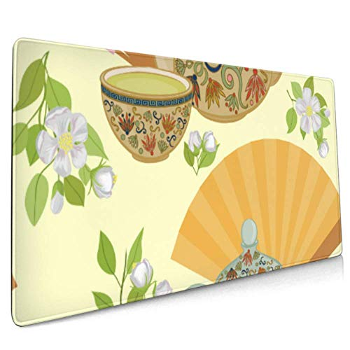 Long Mousepad (35.5x15.8in) Muster Teekanne Kleine Tasse Green Desk Pad Tastaturmatte, rutschfeste Basis, wasserdicht, für Arbeit & Spiele, Büro & Zuhause