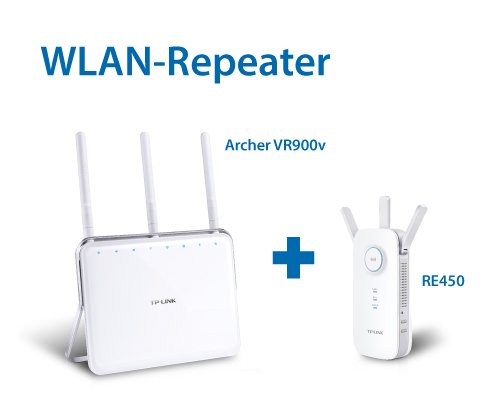 TP-Link: Archer VR900v All-In-One Box Telefonie WLAN-AC Router & RE450 AC1750 Dual Band WLAN Repeater