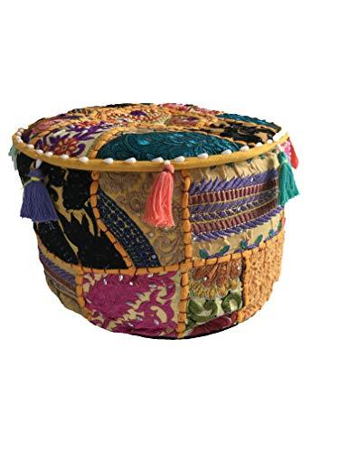 Zen Puf de meditación bordado hecho a mano, cómodo, para mente, cuerpo, alma, 100% algodón, atención plena, relajación, cojín interior incluido – almohada de suelo (amarillo)