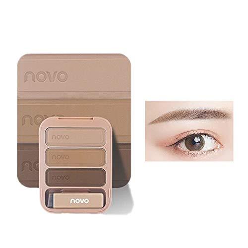 Juego de paleta de polvos para cejas de 3 colores, fácil de colorear, resistente al agua, de larga duración, con pincel y espejo (01# marrón claro)
