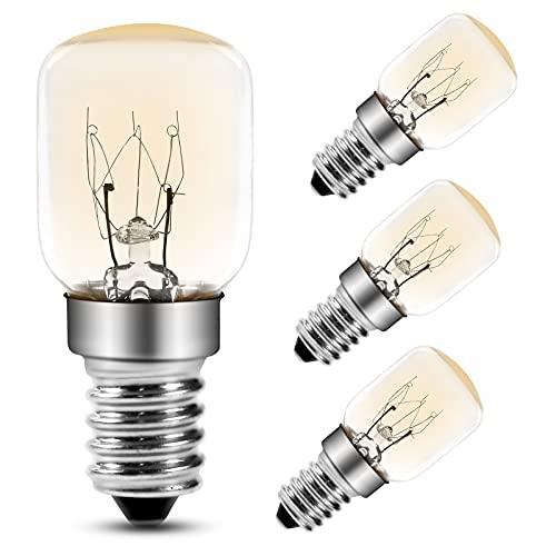 Ofenbirnen 25W Glühlampe Kleine Schraube E14 Sockel, Pygmy Lampen 300 °C Comyan Mikrowelle/Ofen/Salzlampe Glühbirnen, 4Pack