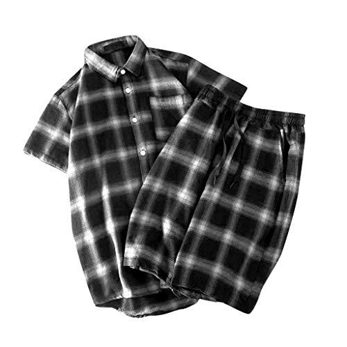 Yowablo Chemise Shorts Pantalon Deux Peice Suit Hommes Casual Lattice à Manches Courtes (S,Noir)