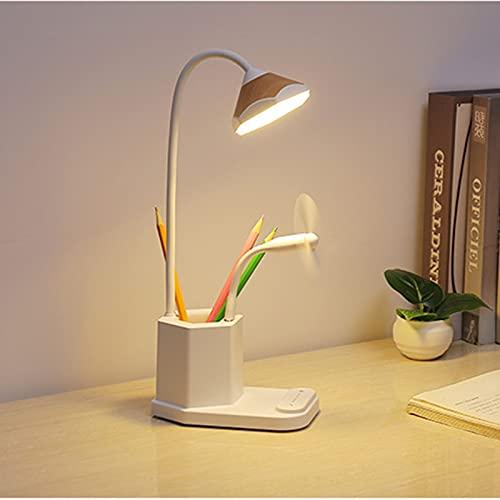 Lámpara para Escritorio con Portalápices USB LED de Colores Regulable Múltiples Modos de Luz Brazo Flexible Rotación Regulable de 360 ° Proteger Los Ojos Para Leer Estudiar (Color : Beige)