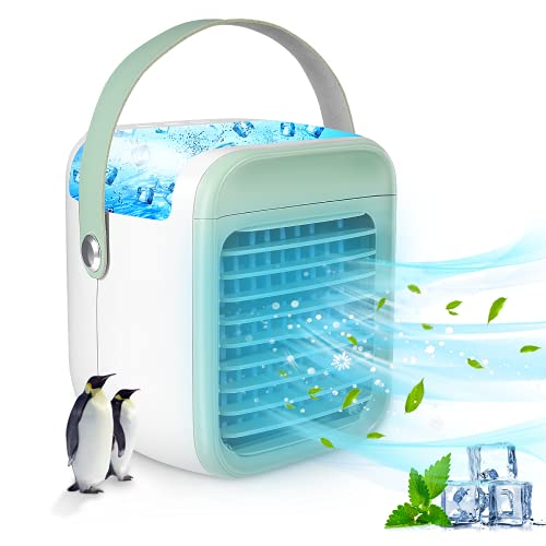 Portable Air Conditioner, Anti Leak Personal Mini Air Conditioner Fan, Rechargeable Quiet USB Evaporative Mini Air Conditioner Fan with 3 Speeds, Air Cooler for Small Room/Bedroom/Office/Dorm/Camping