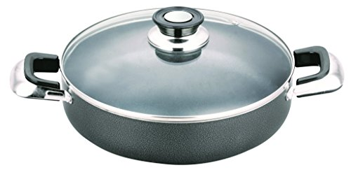 All American Collection Low Pot Non-stick Coating with Glass Lid Cover (14 Inch)