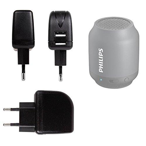 DURAGADGET Cargador para Altavoz Portátil Philips BT100B, BT3600A,BT3600W, BT50/00, BT50B, BT50B/00, BT5580, BT6000B, BT6600N/12, SBA3010, SD700B - con Doble Entrada USB - con Enchufe Europeo