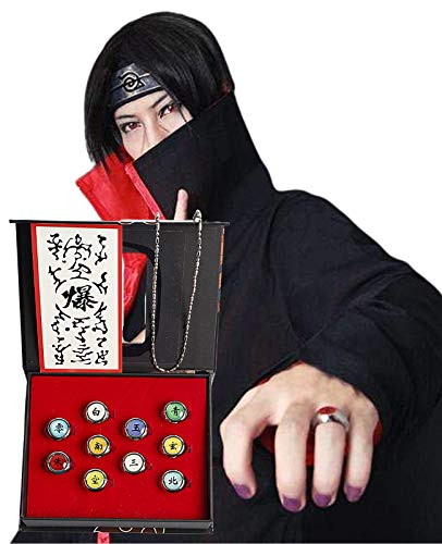 MeDoTrendy 10 anillos Ninja Naruto Akatsuki disfraz Cosplay Prop Ninja Anillos Kit Accesorios Cosplay con collar, Naruto Shippuden Itachi Cosplay Anillos