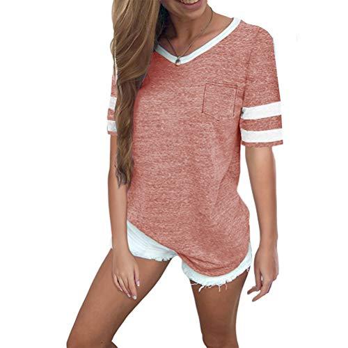 Hanyixue Dames t-shirt met korte mouwen V-hals casual zomer losse oversized tops