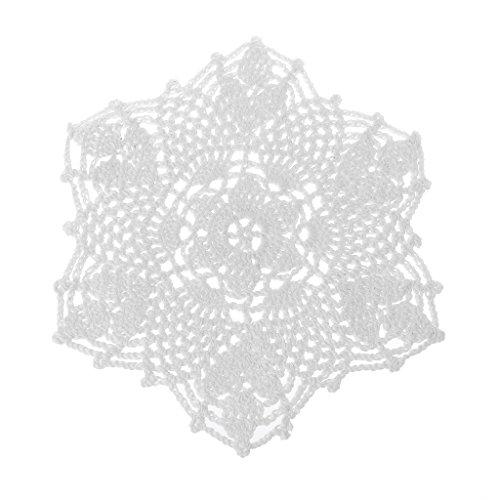 DREAMDEER Sottobicchieri a Forma di Fiore con centrini di Pizzo all'Uncinetto a Mano in Cotone Opaco - Bianco