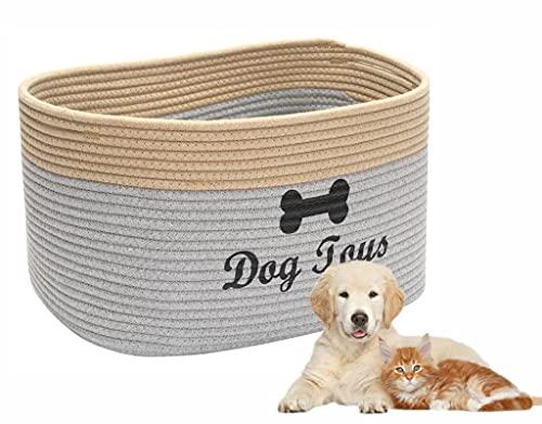 Brabtod Cesta de juguete de cuerda de algodón con asa, cubos de cachorro, cama para mascotas, caja de juguetes para mascotas, perfecta para organizar juguetes de mascotas,correas y estera de orinar