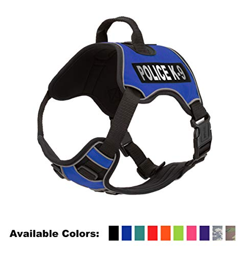 Dogline Quest No-Pull Dog Harness with Police K-9 Reflective Removable Patches Soft Comfortable Dog Vest with Quick Release Dual Buckles Black Hardware and Handle 21 to 25 inches Blue