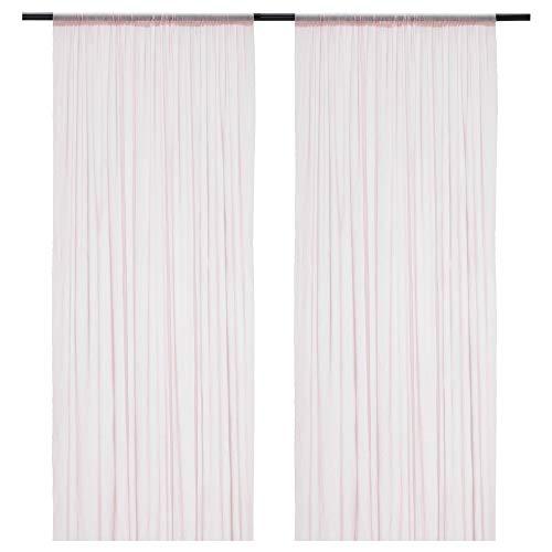 HILDRUN - Cortinas transparentes (1 par, 145 x 300 cm), color rosa