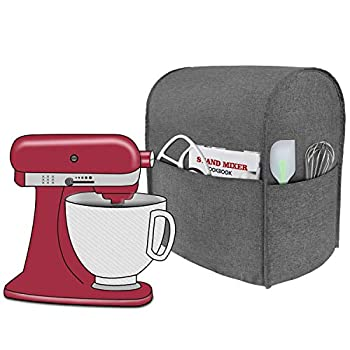 Taufey Dust Cover with Pockets Compatible with Tilt Head 4.5-5 Quart KitchenAid Stand Mixer Gray