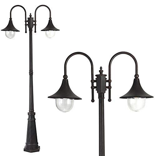 Bakaji Lampione Vittoriano Classico da Giardino in Alluminio Lampada Braccio ad Arco Lanterna a Sfera Colore Nero Finitura Anticata Bronzo IP44 E27 (2 Luci 220 cm)