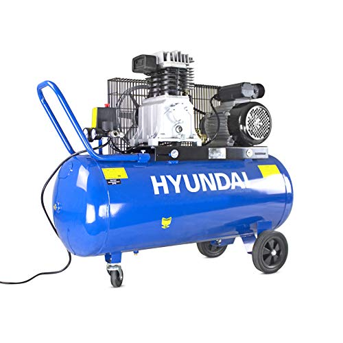 Hyundai Powerful 3HP 14CFM, 100L, Air Compressor, Belt Drive Air Compressor Pump, 2 Year Hyundai Platinum Warranty, Large Air Compressor, Twin Cylinder Motor, Ideal for Workshop & Garage Use, Blue