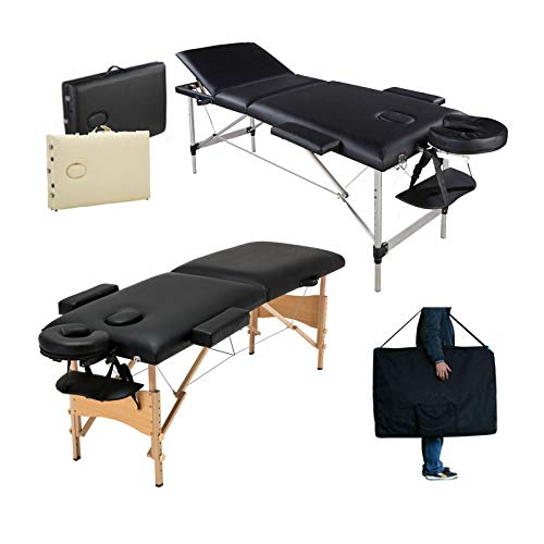 Massageliege Klappbar Tragbar Kosmetikliege (Benutzt - wie neu) Massagetisch Behandlungsliege mit 2 Zonen Höhenverstellbaren Holzfüßen Tragetasche (bis 230kg belastbar) -Schwarz