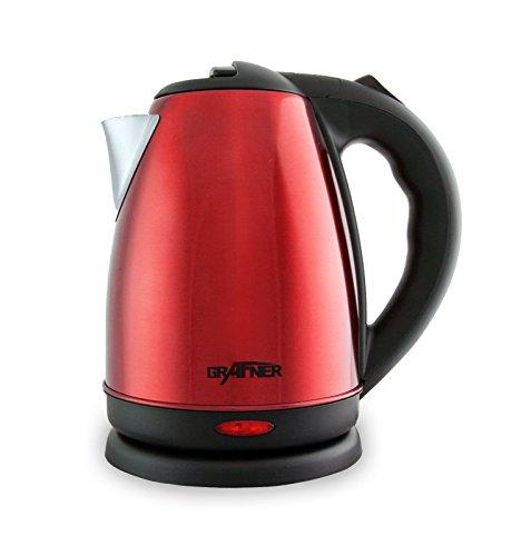 Grafner Design Edelstahl Wasserkocher 1,8 Liter, Edelstahl-Heizelement, 2200 Watt, Trockenlaufschutz, BPA-frei, 360° Basis, rot