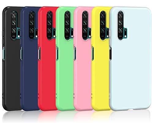 ivoler Pack de 7 Coque pour Huawei Honor 20 Pro, [Ultra Mince Silicone en Gel TPU Souple] Housse Etui Coque de Protection (Noir, Bleu, Vert, Rose, Rouge, Jaune, Blanc)