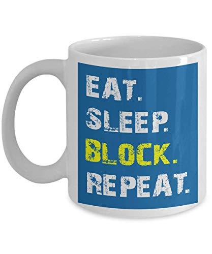 Kaffeebecher aus Keramik, einzigartiges Geschenk, einzigartiger Fußball/Eat Sleep Block Repeat Fußball Offensive Lineman LS Fußballjungen, Kinder, Männer, Teenager, Jungen, Trainer, Fußball, Vatertag