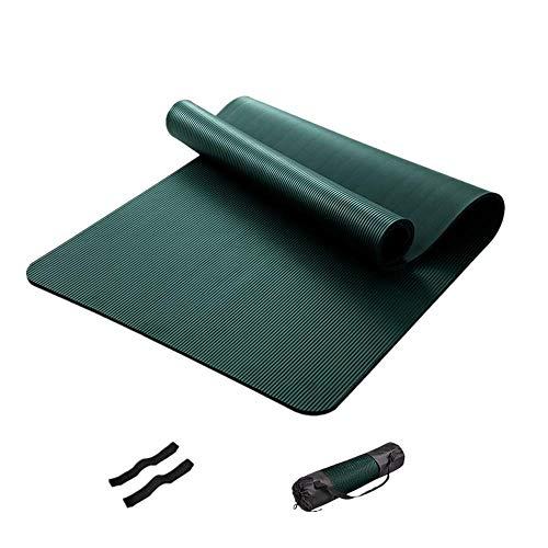 ZBK Esterilla de yoga , Esterilla de yoga NBR, Esterilla de fitness, Esterilla de ejercicio ensanchada y más larga para hombres, 200 × 90 × 1.5CM (verde oscuro)