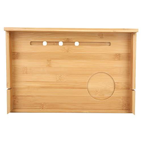 Yinuoday Estantería de Bambú para Cabecera Cama Loft Multifuncional Mesita de Noche Flotante Organizador Soporte de Cabecera para Teléfono Móvil Tableta Libros de Bebidas a Distancia