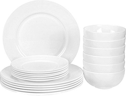18-Piece White Flat Edge Dinner Set - Dishwasher Safe Opal Glassware
