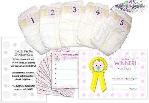 Juego de pañales sucios para niñas de Baby Shower en rosa, 12 jugadores (juego de pañales sucios)