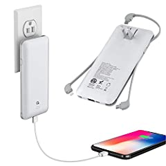 [FIVE IN ONE]:Built-in micro cable type C cable and other total three cables for all mobilephones directly. You do not need take charging cable.Also built-in AC Wall PLUG and Micro input Port for charging power bank. [Full Capacity]: With 10000mAh ba...