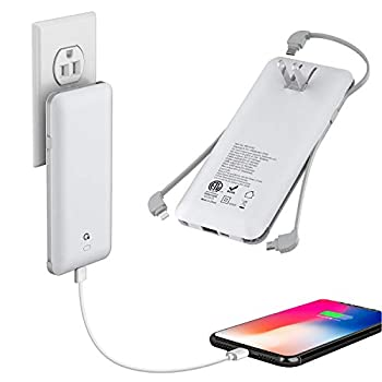 10000mAh Q Portable Charger Ultra Slim USB C Power Bank 4 Output Dual Input External Battery Pack with Built-in AC Wall Plug,Built in Micro and USB C Three Cables Compatible with All mobilephone