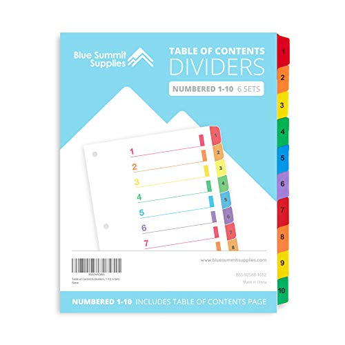 Blue Summit Supplies 10 Tab Binder Dividers for 3 Ring Binder or Notebook, Subject Dividers with Multicolor Numbered Tabs, Includes Customizable Table of Contents Index, 6 Sets