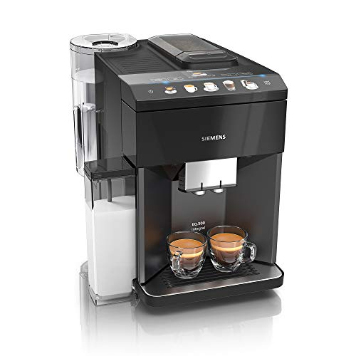 Siemens EQ.500 integral Kaffeevollautomat TQ505D09, einfache Bedienung, integrierter Milchbehälter, zwei Tassen gleichzeitig, 1.500 Watt, schwarz