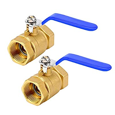 """1 Inch Brass Ball Valve,Lead Free NPT Ball Valve, Premium Full Port Forged 1"""" Ball Valve for Water Oil and Gas with Shut Off Switch,2 Packs by ZOUNI"""