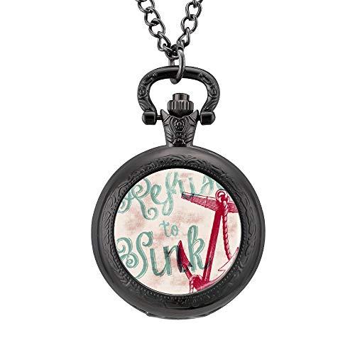 Klassieke Pocket Horloge Marine Anker Tekst Motto Ketting Hanger voor Mannen/Vrouwen Vintage Analoge Quartz Pocket Horloge Arabische Numeralen Retro Ornate horloge, Geschenk voor Vader en Vriendje Aangepaste Gepersonaliseerde Sieraden, Eén maat, Patroon 3