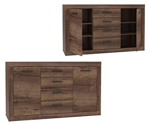Furniture24 Kommode Trass TRAK231, Sideboard mit 2 Türen und 4 Schubladen, Schlameiche Dekor