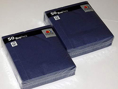 100 stuks servetten FASANA # 3-laags papieren servetten donkerblauw - kleurcode: royal blue 203 - servet 1/4-vouw Grootte: 33x33 cm 13x13 inch - decoratieve servetten - cellulose servetten