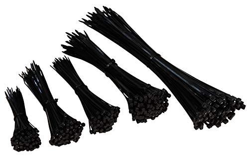 MC POWER - Kabelbinder-Set | 500er-Pack, schwarz, 5 Größen 100/140/160/200/300mm