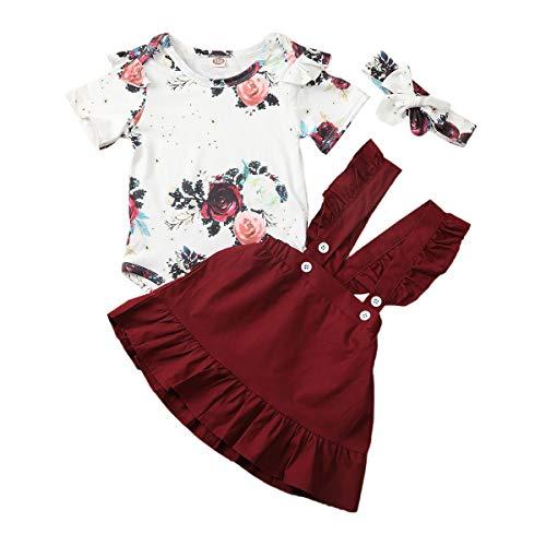 Kleinkind Kleinkind Baby Mädchen Ostern Tag Kleidung Set Kurzarm Plissee Schulter Rosa Tops + Floral Rock Baumwolle Outfit Set 2 Stück 0,5-4 Jahre (6-12 Monate, Gelb)