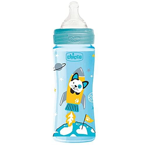 Chicco WELL-BEING Biberón Anticólicos de Flujo Rápido, Biberón 4+ Meses con Tetina Physio de Silicona Suave y Acabado Soft Sense, Biberón de Plástico de 330 ml, Azul