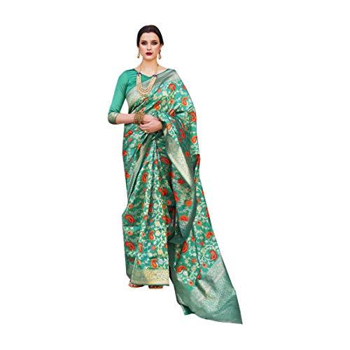 Verde Suave Hilo de Cristal Tejiendo Telar Mano De Seda De Las Mujeres Saree Festival Étnico Musulmán Eid Zari Blusa Sari 9250