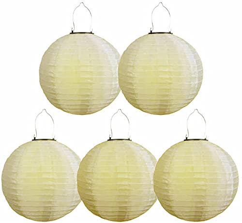 5 Stück Lampions Solar Außen LED Garten Laterne, Ballform Outdoor Gartenlaternen Papierlaterner Aus Nylon, IP55 Wasserdicht Hängende, Geeignet...