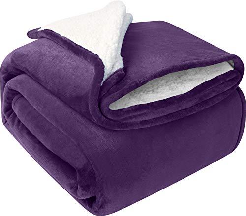 Utopia Bedding Sherpa Bettdecke, Überwurf, Größe Pflaume, 480 g/m², Plüschdecke, wendbar, Decke für Bett & Couch