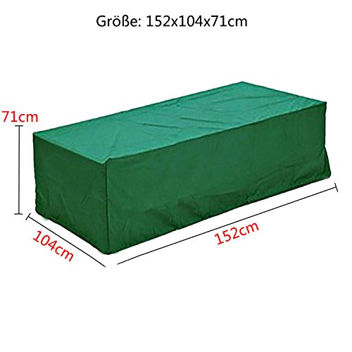 logei® Abdeckung Gartenmöbel Schutzhülle Gartenmöbel Abhaube Möbel und Abdeckplane für rechteckige Sitzgarnituren, Gartentische und Möbelsets grün, 152x104x71cm
