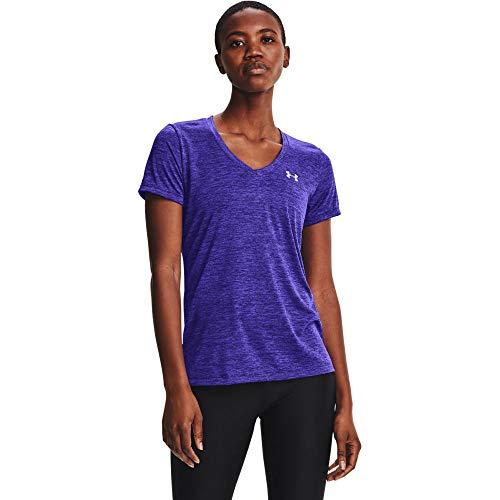 Under Armour Women's Tech V-Neck Twist Short-Sleeve T-Shirt , Ultra Indigo (409)/Metallic Silver, Large