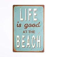 人生はビーチで良いですティンサインバーパブガレージダイナーカフェホーム壁の装飾家の装飾アートポスターレトロビンテージ