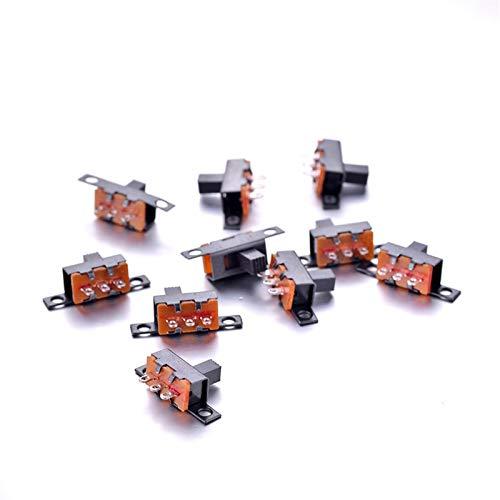 QAZXS Boton Interruptor Nuevo Interruptor de Diapositiva 10 unids/Set SPDT 1P2T 2 POSICIÓN 3 Pin Plano PCB Panel Vertical DE TIENDIENCIA para LOS Paneles DE Instrumentos Productos Digitales Durable