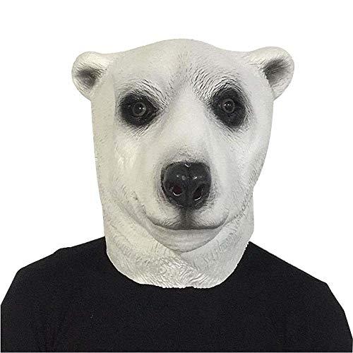 WAGE - Maschera di Halloween a Forma di Orso Polare, in Lattice, per Halloween, per Feste in Maschera, Bar, spettacoli, Polar Bear, Taglia Unica