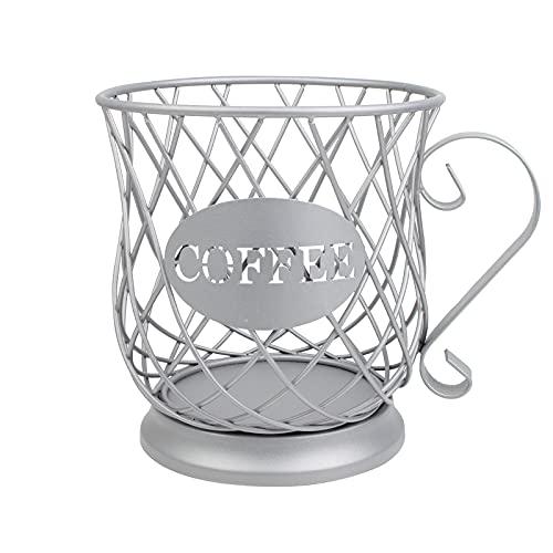 FOVERN1 Coffee Pod Holders, Coffee Creamer Container, Coffee Pod Storage Cup, K Cup Coffee Storage Basket, Mug Shape Coffee Pod Holders Espresso Storage Basket Coffee for Bar Counter (Silver)