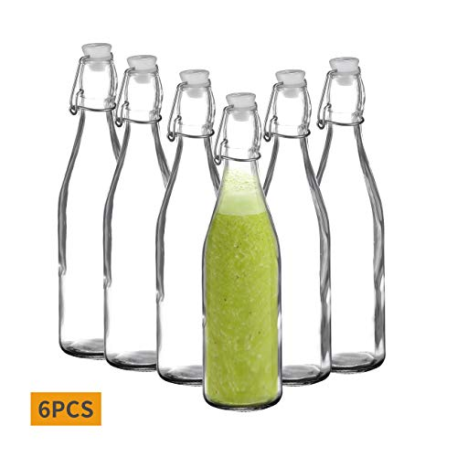 Amisglass Bügelflasche, Leere Glasflaschen mit Schaukelverschluss, 6 transparente Flaschen für Wein/Bier/Saft