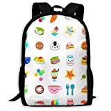 Lsjuee Cute Foods Fun Food Faces PNG Food with Faces Mochila de Viaje para Adultos Mochila Escolar Mochila Informal Oxford Bolsa para computadora portátil al Aire Libre Bolsas de Hombro para computa